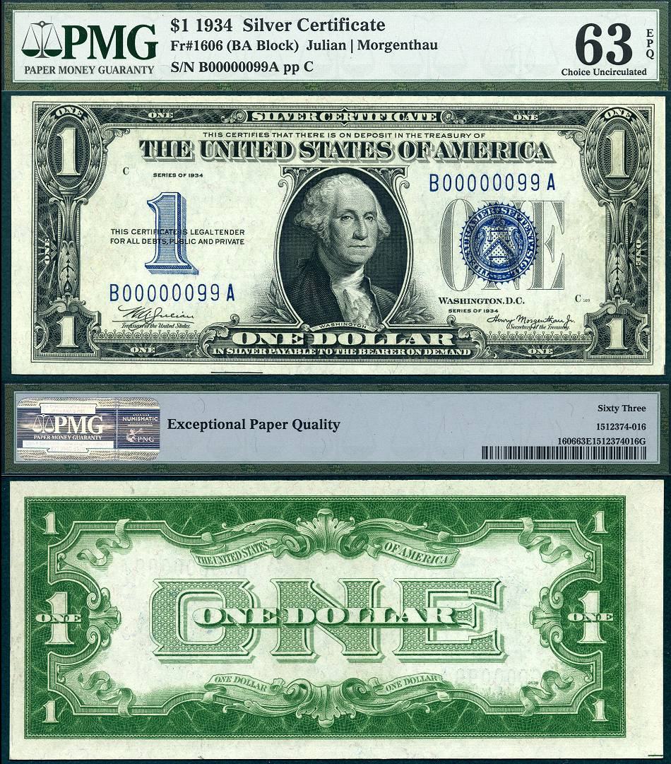 1934 certificate 1606 pmg graded currency