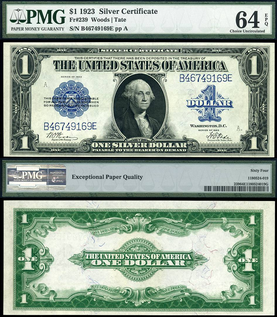 1923 $1 Large Size Silver Certificate // FR238 // Woods
